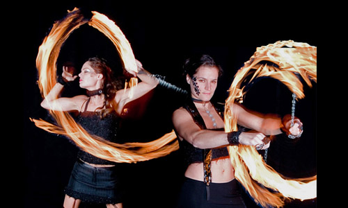 fire poi dance act
