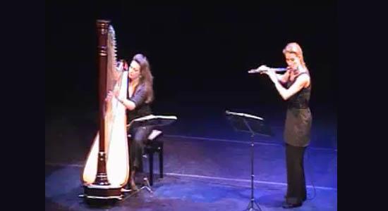 licht klassieke muziek harp fluit duo