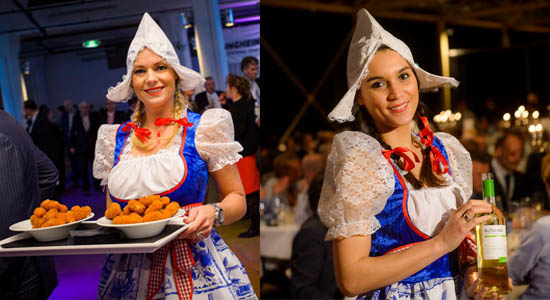 Waitress in typical Dutch outfit