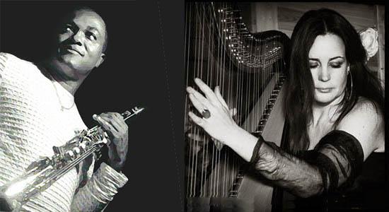 Easylistening Duo RoseWood, harp, saxofoon/percussie en zang