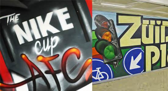 Een spectaculaire graffiti act in de vorm van een demonstratie