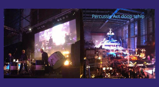 Christening event percussion act with water