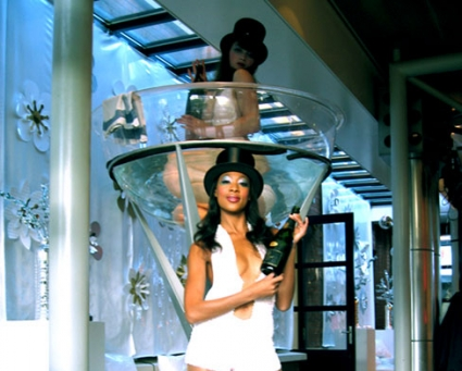 Champagnebad met meisje