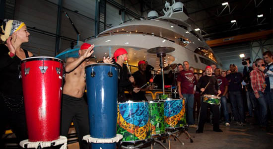 Christening event with capoeira drums