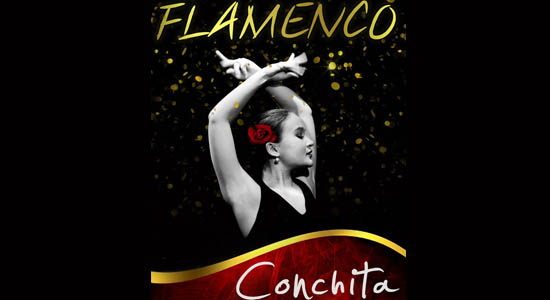 Flamenco danseres Conchita, begeleid door een flamenco trio