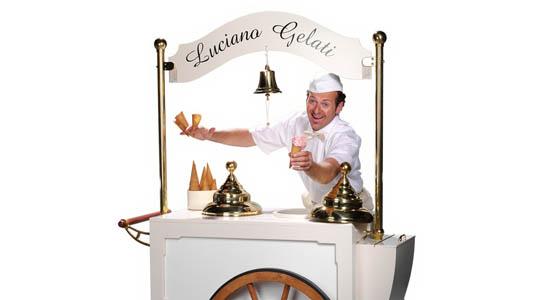 Italiaanse zingende ijscoman Luciano