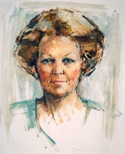 Staatsieportret H.M. Koningin Beatrix door portretschilder Annelies Hoek