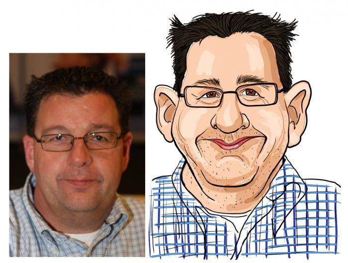 Digitale karikatuur sneltekenaar